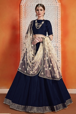 Navy Blue Zari Embroidered Art Silk Semi Stitched Lehenga Choli With Dupatta