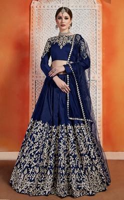 Navy blue Zari embroidered art silk semi-stitched lehenga choli with dupatta