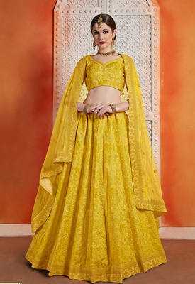 Yellow Sequins embroidered art silk unstitched lehenga choli with dupatta