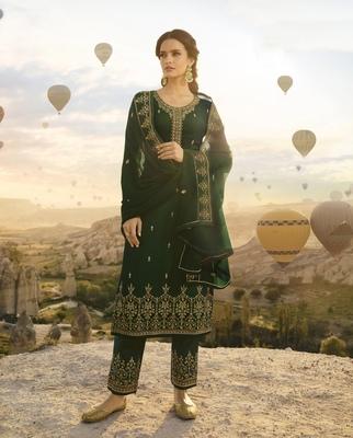 Dark Green Embroidered Georgette Salwar