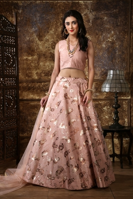 Peach Metalic Foil embroidered silk semi stitched lehenga