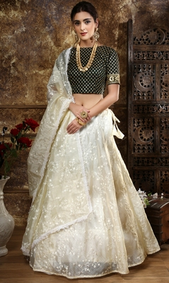 Off White Thread And Sequins Embroidered Organza Semi Stitched Lehenga