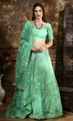 Green Embroidered Organza Bridal Lehenga