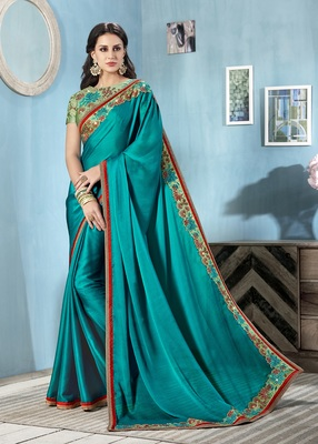 Dark sky blue embroidered chiffon saree with blouse