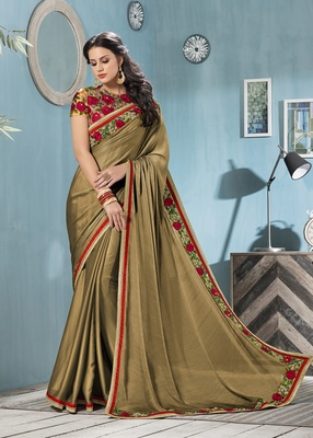 Antique gold embroidered chiffon saree with blouse