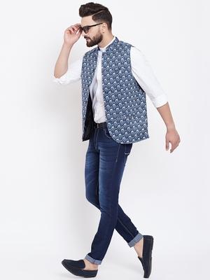 Blue woven viscose rayon nehru-jacket