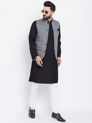 Grey woven poly cotton nehru-jacket