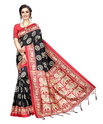 Black woven art silk saree with blouse
