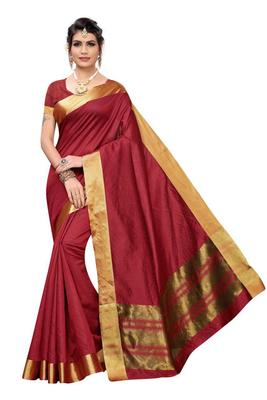 maroon woven cotton saree with blouse