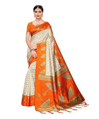 orange printed art silk saree with blouse