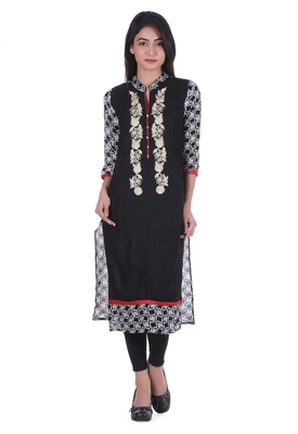 Black printed cotton kurtas-and-kurtis