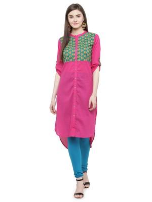 Pink Hand Embroidered Straight Cotton Kurta