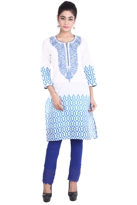 White embroidered cotton kurtas-and-kurtis