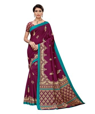 Magenta printed art silk saree with blouse
