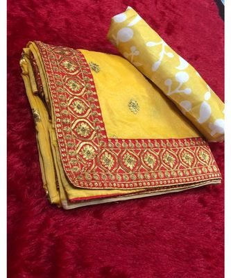 Yellow embroidered chanderi saree with blouse