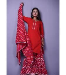 Red Leheriya Garara Set