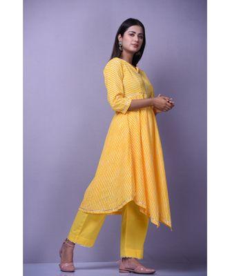 Yellow leheriya Suit Set