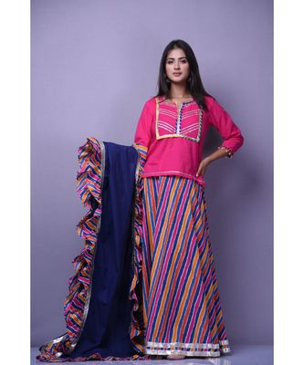 Magenta Top Skirt Set