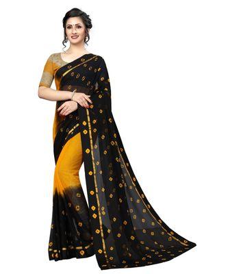 black woven chiffon saree with blouse