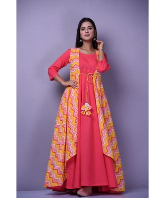 Peach Leheriya Dress with Cape