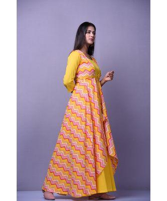 Yellow Leheriya Dress with Cape
