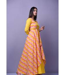 Yellow Leheriya Dress with Cape