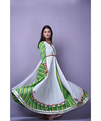 Green Leheriya Dress with white cape