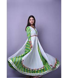 Green Leheriya Dress with white cape