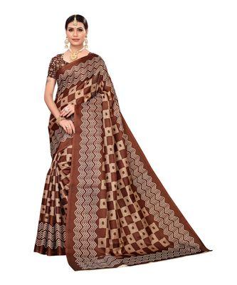 brown printed khadi saree with blouse