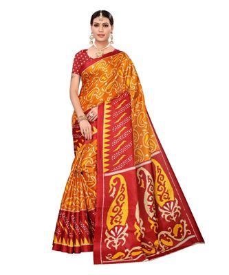 Maroon printed khadi saree with blouse
