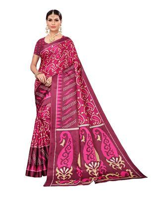 Wine printed khadi saree with blouse