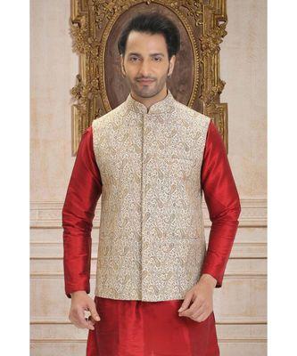 white embroidered jacquard nehru jacket