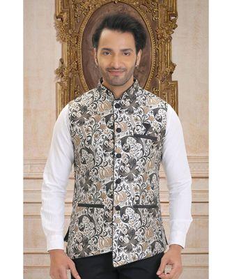gold woven tanchhoi nehru jacket