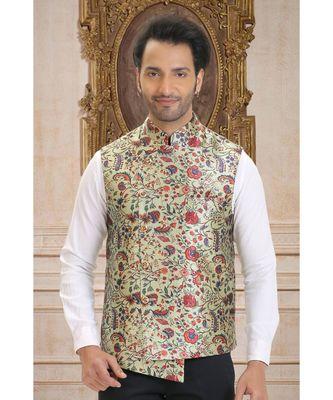 multicolor printed jacquard nehru jacket