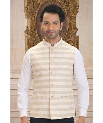 multicolor printed linen nehru jacket