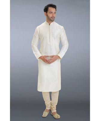 white printed dupion silk kurta pajama