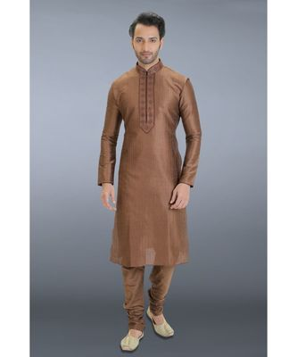 brown printed dupion silk kurta pajama