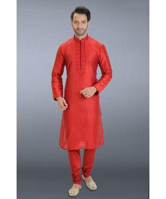 red embroidered dupion silk kurta pajama