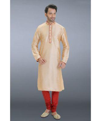 brown woven dupion silk kurta pajama