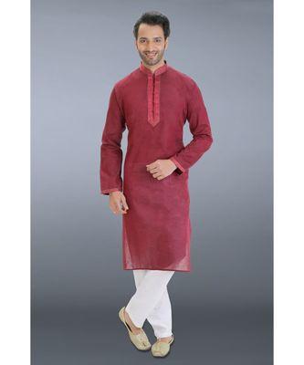 maroon woven cotton kurta pajama