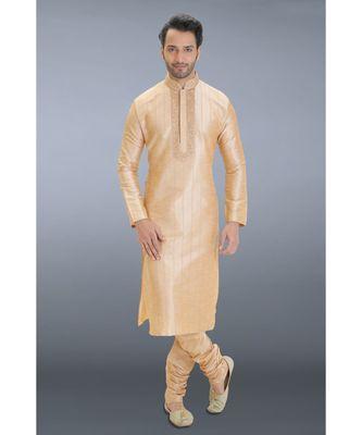 brown printed dupion silk kurta pajama