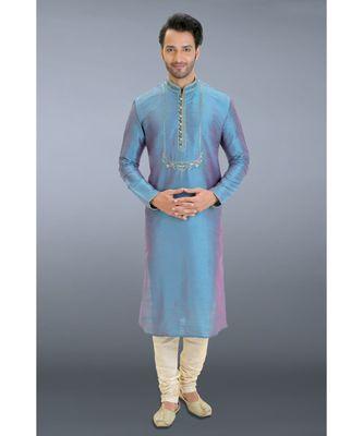 blue woven dupion kurta pajama