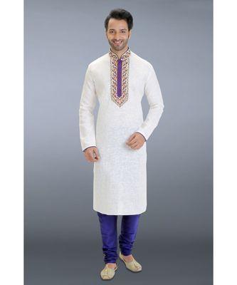white woven linen kurta pajama