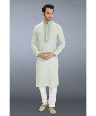 green woven linen kurta pajama