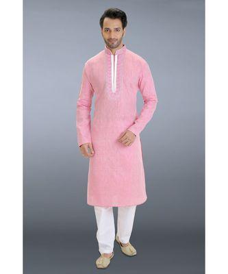 pink printed cotton kurta pajama