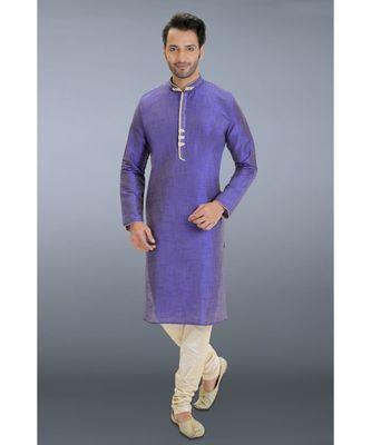 blue printed dupion kurta pajama