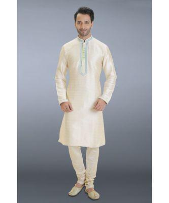 white printed dupion kurta pajama