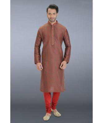 brown woven dupion kurta pajama