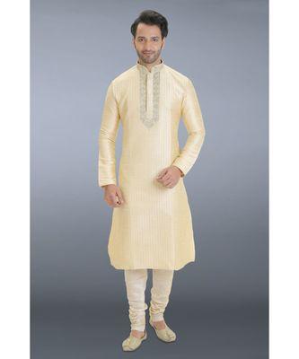 white woven art silk kurta pajama
