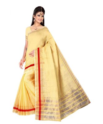 Cream woven super net saree with blouse